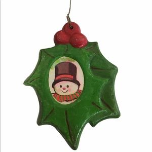 Vintage Christmas Tree Ornament Leaf With Snowman